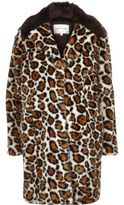 River Island Womens Cream leopard print faux fur coat