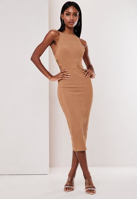 Missguided Premium Tall Camel High Neck Bandage Midi Dress
