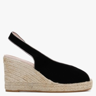 Carmen Saiz Black Suede Peep Toe Wedge Espadrille Sandals