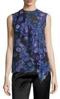 Jason Wu Sleeveless Ruffled Floral-Print Top, Black/Iris