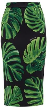 Dolce & Gabbana Leaf-print Silk-charmeuse Skirt - Womens - Black Green