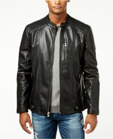 X-Ray Men's Quilted Faux-Leather Moto Jacket