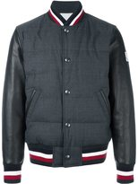 Moncler Gamme Bleu striped detail bomber - men - Cotton/Feather Down/Leather/Wool - 2