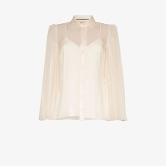 Gucci Sheer Pleated Sleeve Shirt