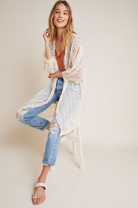 Anthropologie Delilah Lace Kimono By in Beige Size ALL