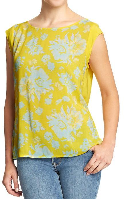 Old Navy Women's Floral-Front Sleeveless Tops