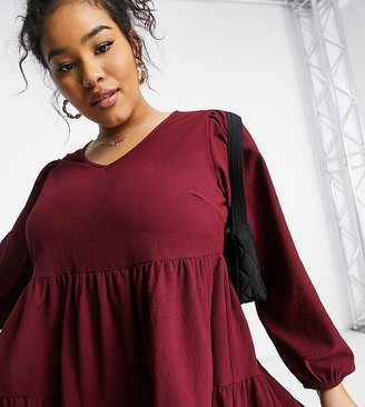 Yours blouse with tiered hem in burgundy