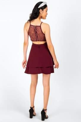 francesca's Nikola Tiered Lace Back Dress - Purple