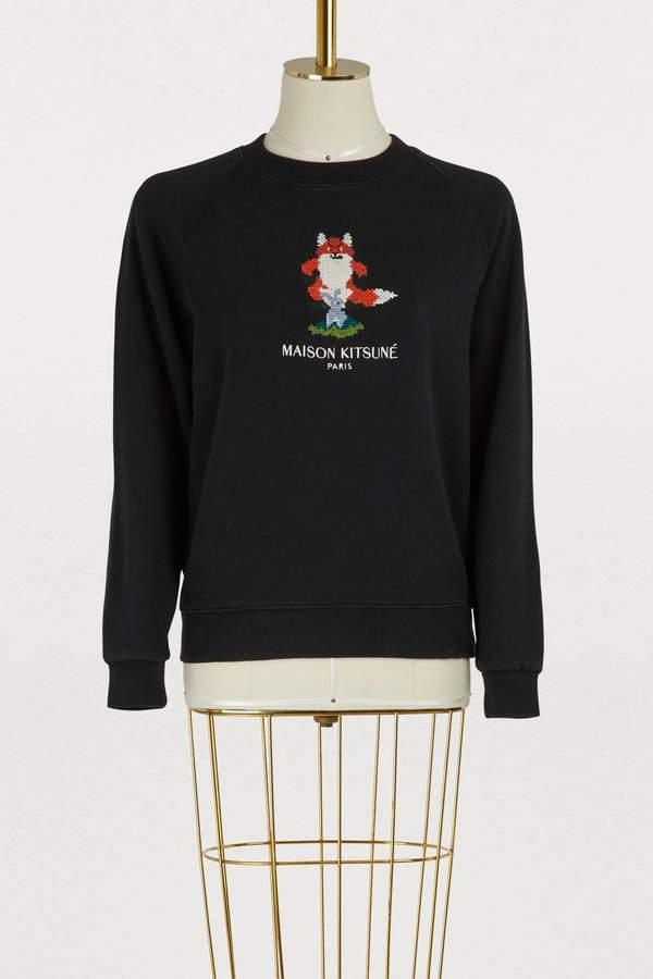 MAISON KITSUNÉ Cotton pixelated fox sweatshirt