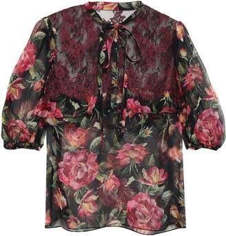 Dolce & Gabbana Lace-paneled Floral-print Silk-blend Georgette Blouse