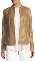 Lafayette 148 New York Embla Lambskin Leather Jacket w/ Ponte Combo