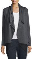 Elie Tahari Julianne Knit Jacket w/ Mesh Hem, Charcoal Melange