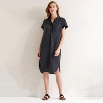 The White Company Washed Satin Dress, Storm Grey, 8