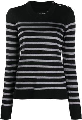Zadig & Voltaire Button-Shoulder Striped Sweater