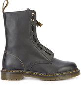 Yohji Yamamoto Dr. Martens Front Zip Boots - men - Bullhide Leather/rubber/Lamb Nubuck Leather - 42