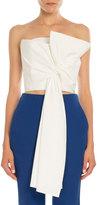 DELPOZO Strapless Tie-Front Poplin Top, Natural White