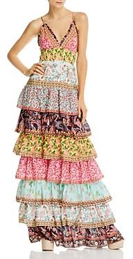 Alice + Olivia Imogene Mixed Print Tiered Ruffle Maxi Dress