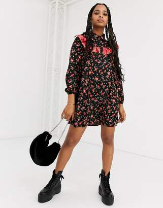 Asos Design DESIGN Long sleeve shirt smock dress in mixed print-Multi