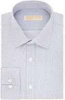 MICHAEL Michael Kors Men's Classic-Fit Non-Iron Cotton Blue Print Dress Shirt