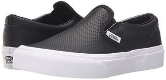 Vans Kids Classic Slip-On (Little Kid/Big Kid) (Black Perf Leather) Kids Shoes