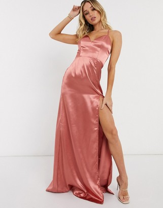 Club L London Club L cami strap satin maxi dress with thigh split in dusky pink