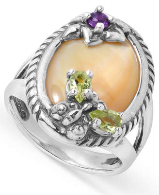 Mother of Pearl Carolyn Pollack and Gemstone Butterfly and Flower Ring in Sterling Silver