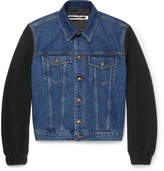 McQ Wool Bouclé-panelled Denim Jacket - Blue