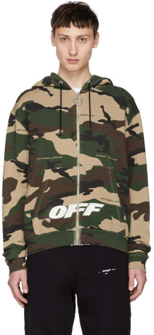 Off-White Beige and Green Camo Zip Hoodie
