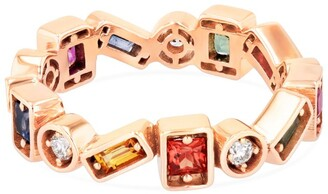 Suzanne Kalan Rose Gold, Diamond and Rainbow Sapphire Fireworks Inlay Eternity Ring (Size 6)