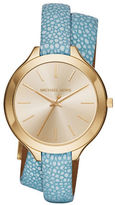 Michael Kors Slim Runway Stainless Steel Stingray Leather-Strap Watch