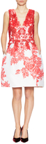 Monique Lhuillier Embroidered Silk Printed A-Line Dress