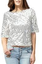 Lettre d'amour Women's 3/4 Sleeve Sequins Fashion T Shirts XS