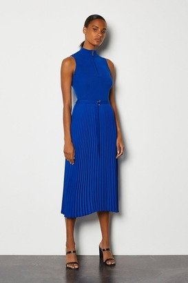 Karen Millen Zip Turtle Neck Pleated Skirt Dress