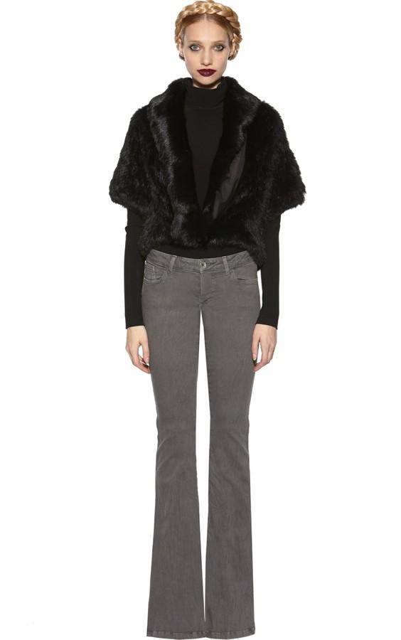 Olsen Cropped Short Sleeve Fur Jacket