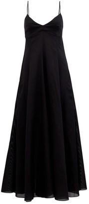 Three Graces London Carlota Backless Cotton-gauze Maxi Dress - Black