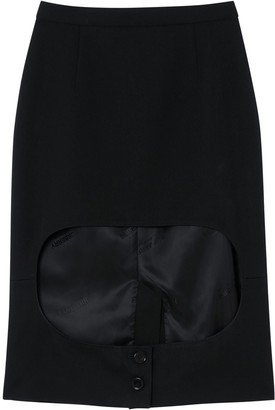 Burberry Jersey Step-Through Pencil Skirt