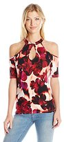 GUESS Women's Half Sleeve Printed Janell Keyhole Top