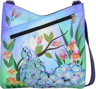 Anuschka Anna By Anna by Women's Handbags Midnight - Midnight Peacock Hand-Painted V-Top Leather Crossbody Bag