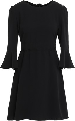 Diane von Furstenberg Bow-detailed Velvet-trimmed Crepe Mini Dress