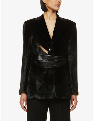 AKIRA NAKA Peter cut-out belted velvet blazer