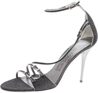 Salvatore Ferragamo Grey/Silver Glitter Lizard Buckle Detail Open Toe Sandals Size 39