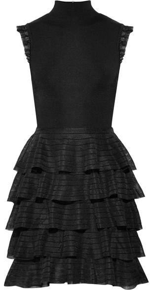 Alice + Olivia Alice Olivia - Janice Tiered Ruffled Stretch-knit Mini Dress - Black