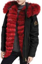 Moose Knuckles Vanier Long-Sleeve Hooded Canvas Jacket w/ Fur Trim