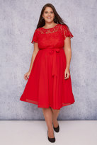Yours Clothing SCARLETT & JO Red Midi Dress With Lace Top & Pleated Skirt