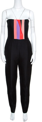 Roksanda Ilincic Black Wool Corset Bodice Detail Strapless Marsten Jumpsuit S