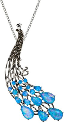 Simulated Opal & Marcasite Silver-Plated Peacock Pendant Necklace