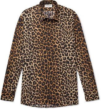 Saint Laurent Leopard-Print Silk-Crepe Shirt - Men - Neutrals