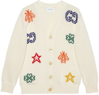Gucci Children's cotton cardigan with symbols