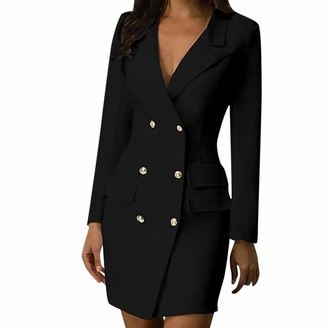 waitFOR Women Military Style Blazer Dresses Ladies Double Breasted Button Solid Color V-Neck Long Sleeves Dress Blouses