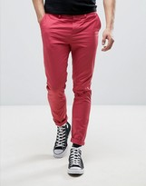 Asos Skinny Chinos In Washed Red